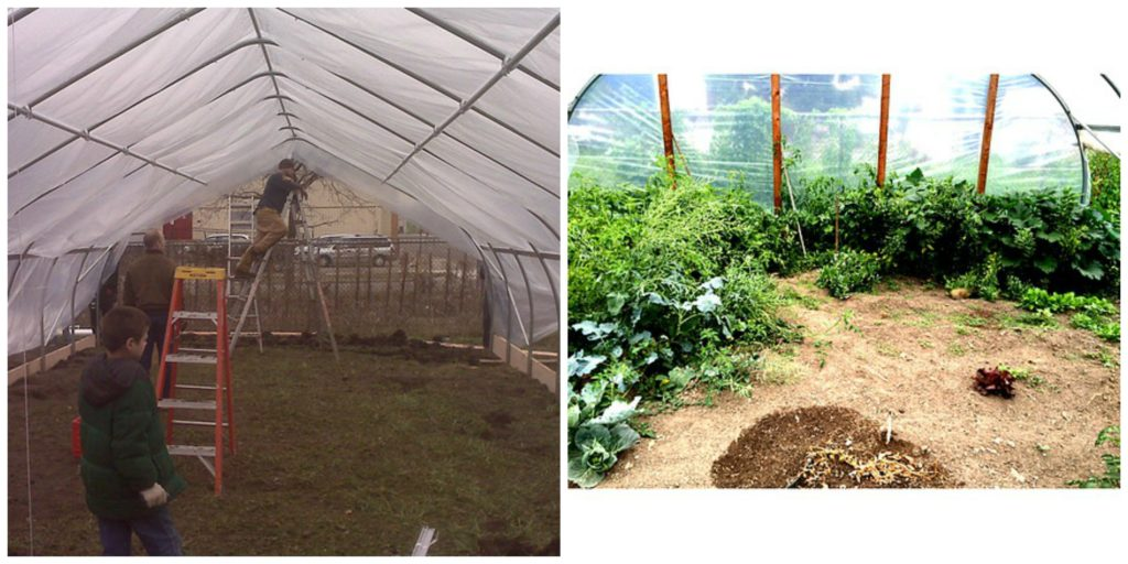 Before and after construction of the community garden