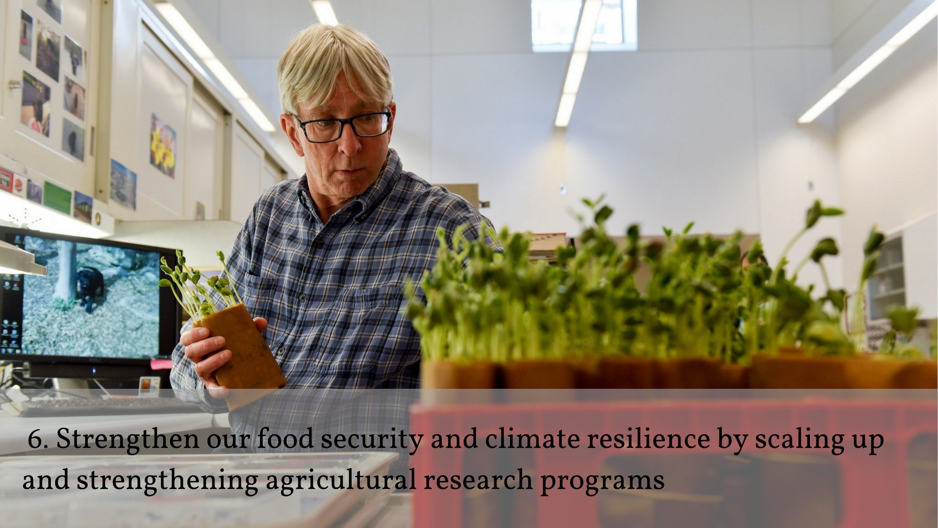 6.Strengthen our food security and climate resilience by scaling up and strengthening agricultural research programs