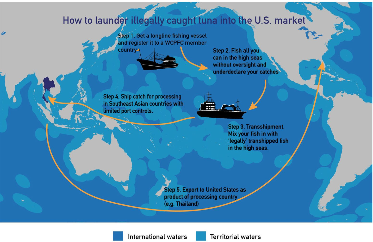 Transshipment on the high seas (international waters) is one way illegally caught tuna can be laundered into the market.