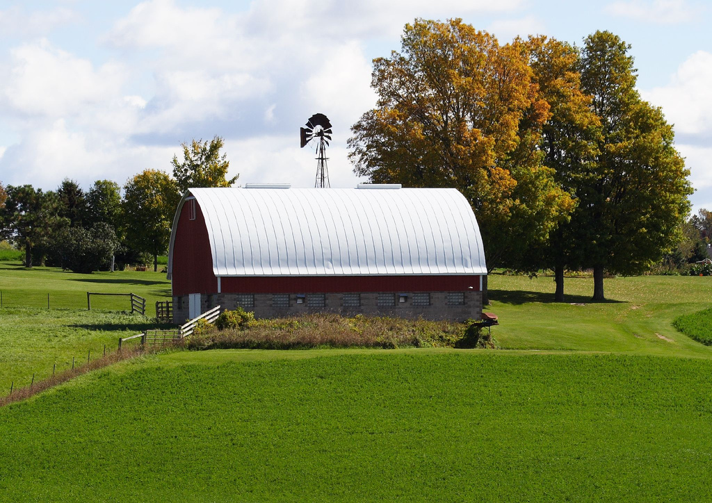 Dairy barn standing in a field in Wisconsin