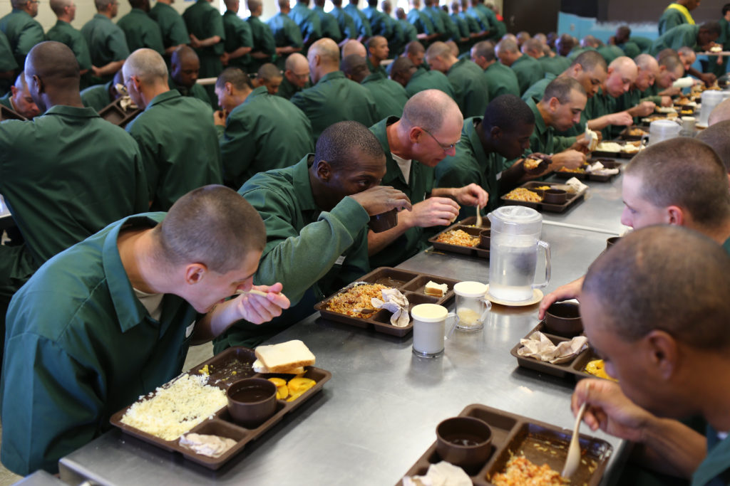 prisoners eat a meal at Lakeview Shock Correctional Facility in upstate New York