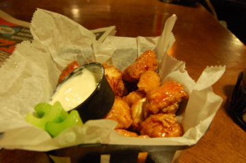 a serving of boneless chicken wings
