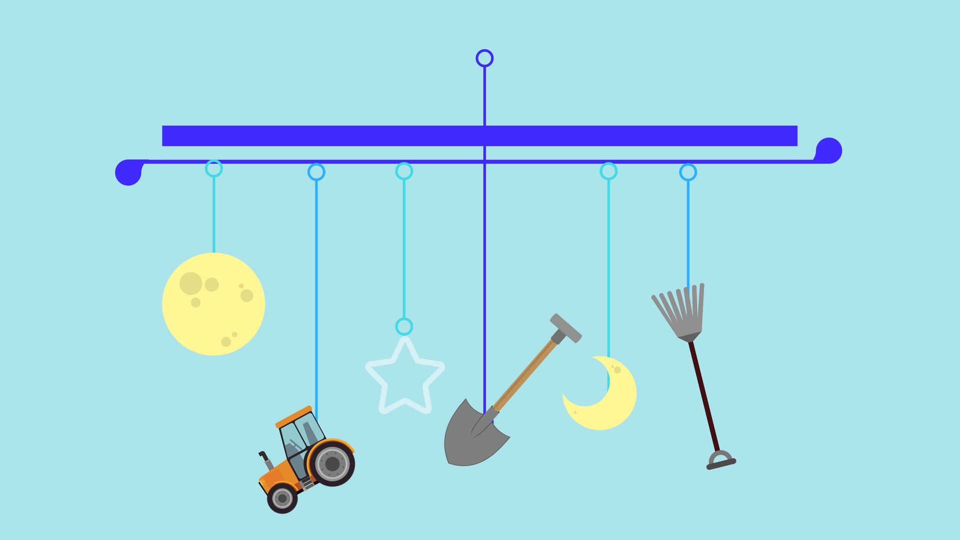 A mobile, on which farm tools tangle among stars and moons