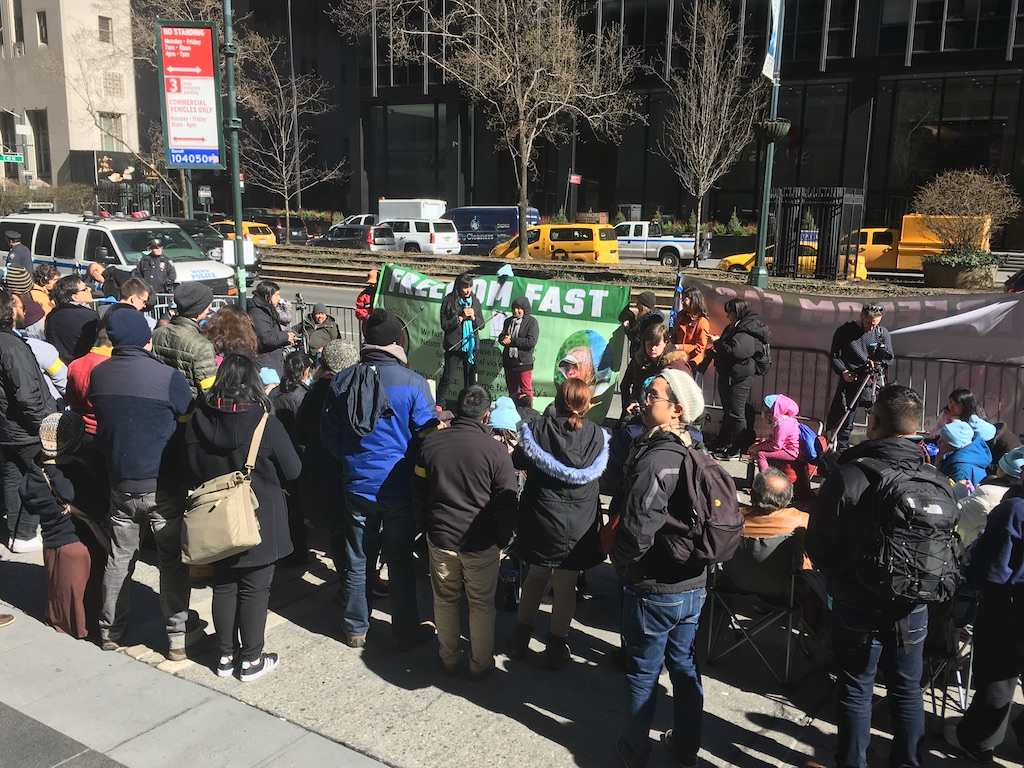 Boycotters rally outside 280 Park Avenue in New York City