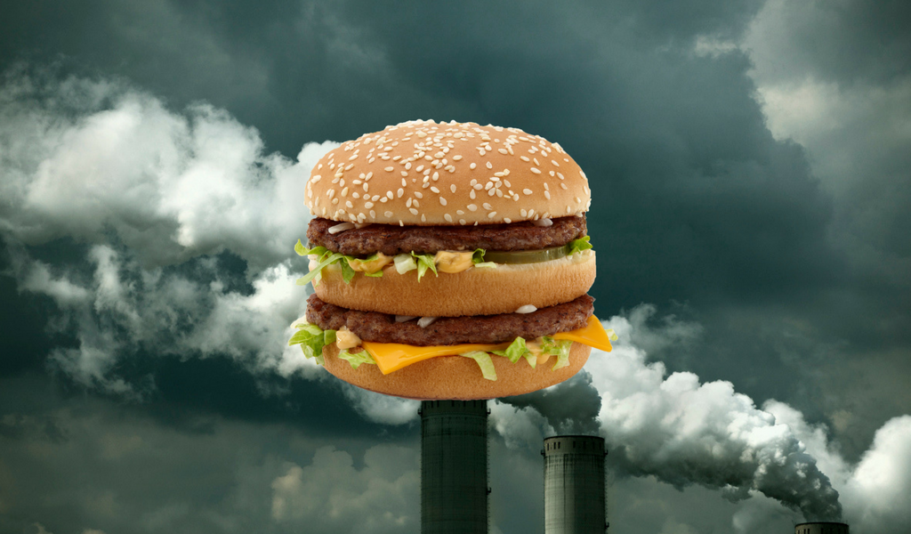 a mcdonald's big mac imposed over emissions from a power plant