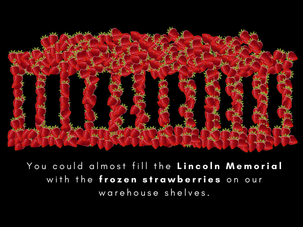 The amount of frozen strawberries that America has in cold storage could fill the Lincoln Memorial. Credit: New Food Economy. July 25, 2018