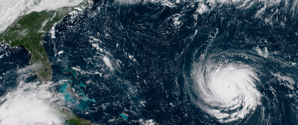 North Carolina's hog and poultry farmers are directly in the path of Hurricane Florence. Credit: NOAA, September 2018