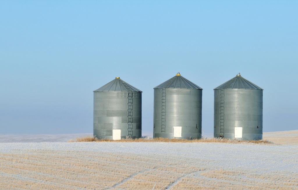 Grain storage in a winter landscape in Alberta, Canada. Credit: iStock