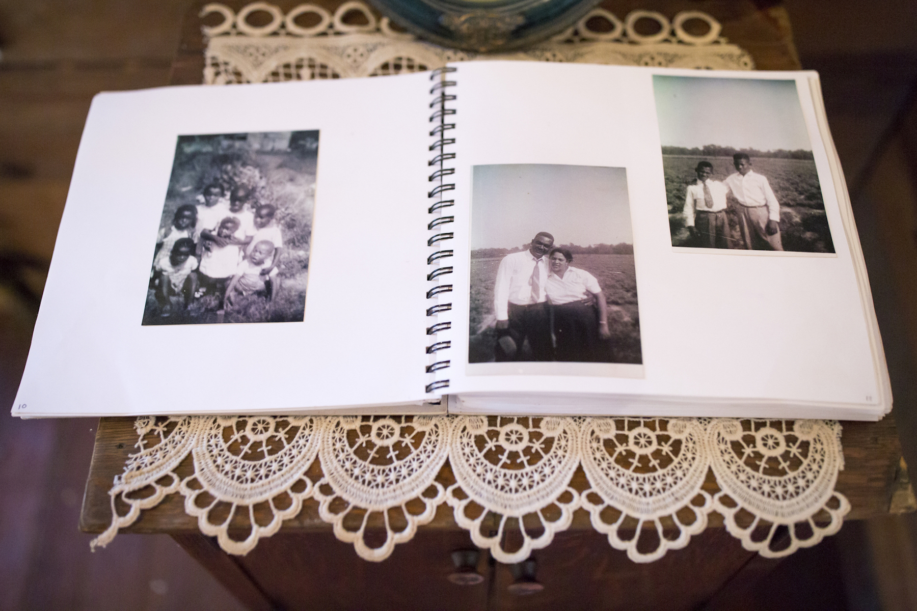 A photo book sits on the table at History House, a museum which chronicles the experience of relocated black farmers in Tillery, North Carolina. Tillery was one of nine sites throughout the country where the government offered land for sale to former black sharecroppers as part of a resettlement program. USDA discrimination against black farmers (June 2019)