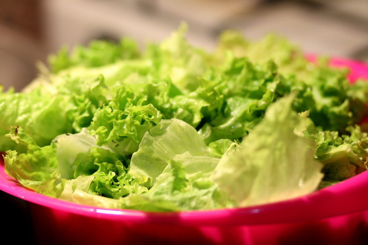 Bowl of lettuce.