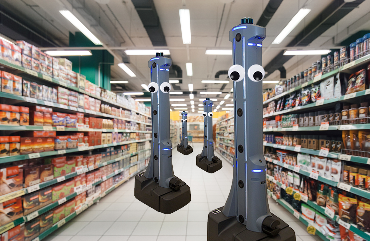 Robots roam an aisle of the grocery store.