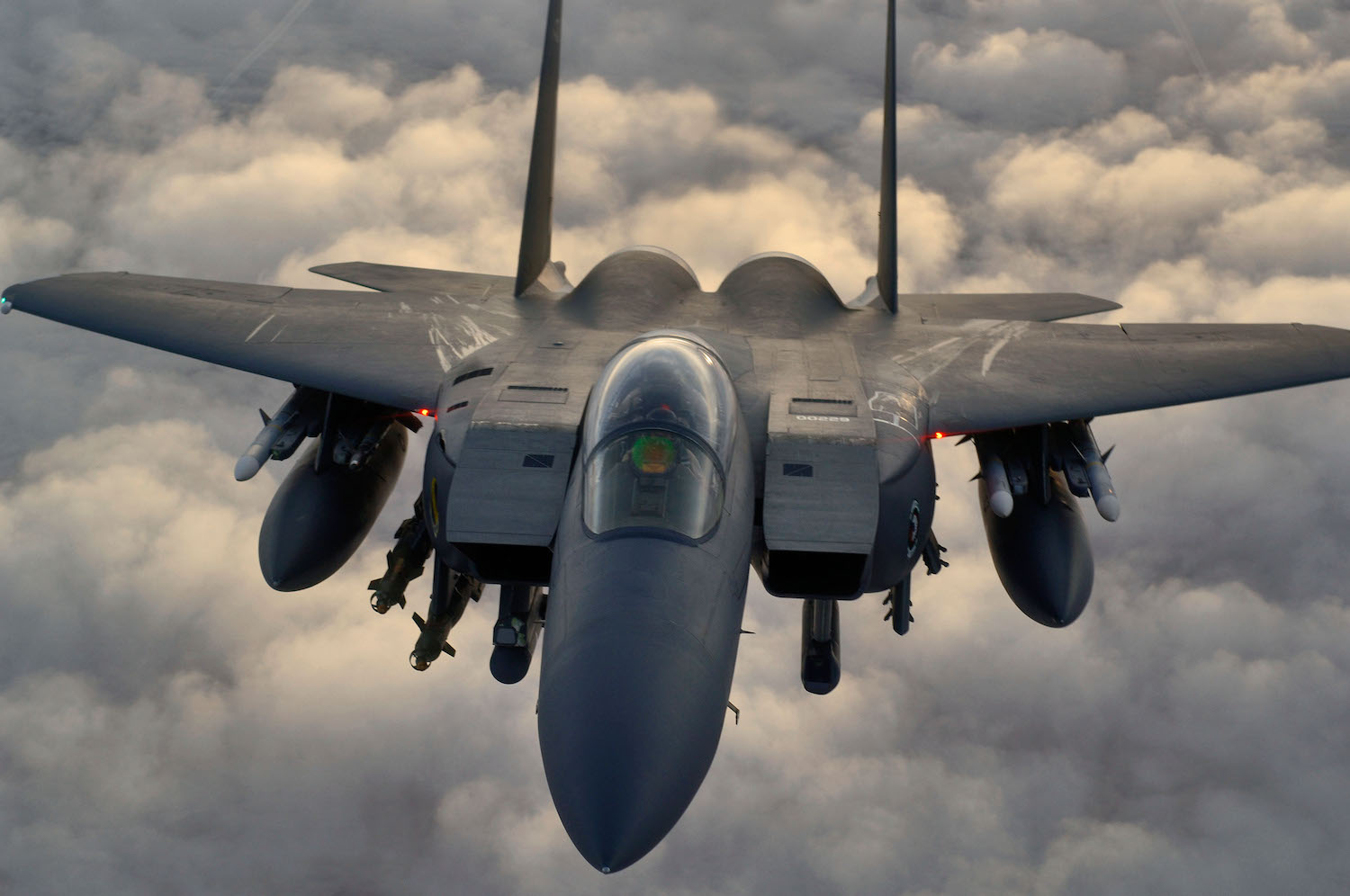 An F-15 E jet in flight over Northern Iraq
