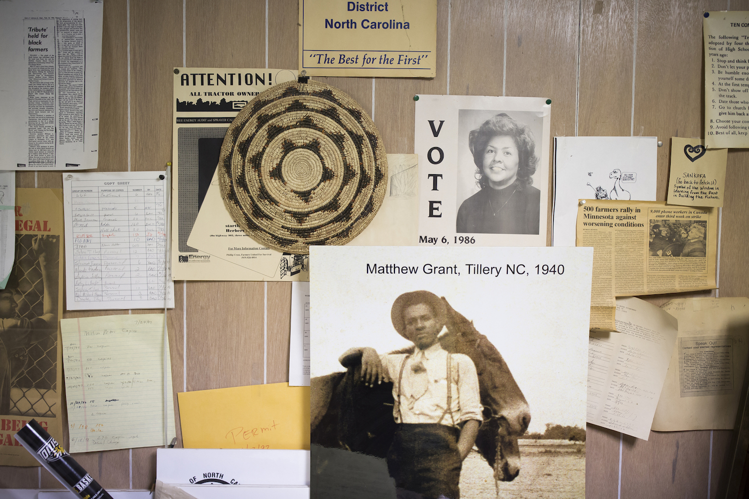 Papers from a wide variety of civil right and social justice campaigns cover the walls at the offices of the Concerned Citizens of Tillery in North Carolina