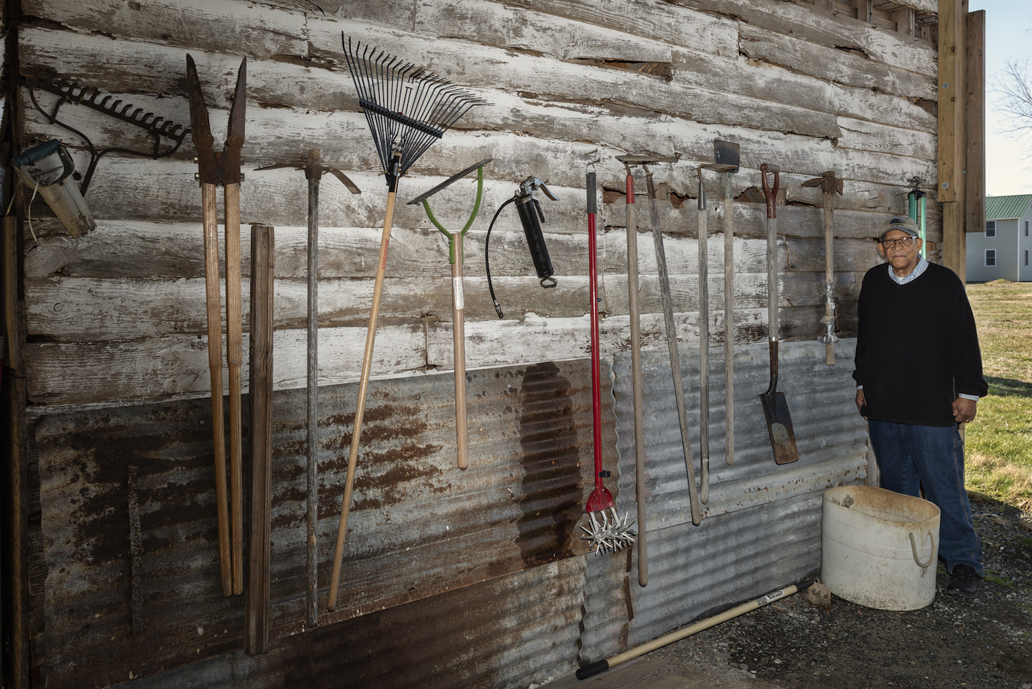 Hand tools in a barn on Lloyd Wright's family farm