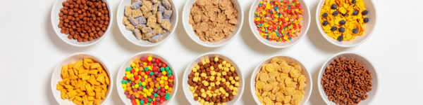 set of different cereals on a white background