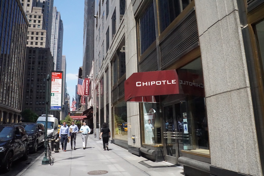 A chipotle located in midtown Manhattan
