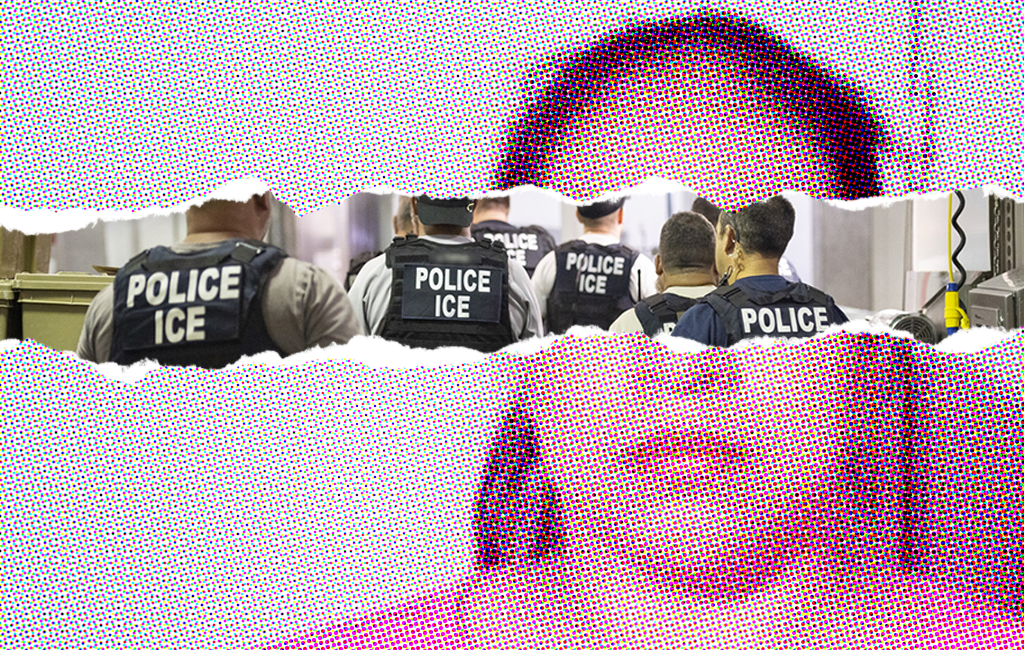 Photo of ICE agents overlaid across poultry worker's face.