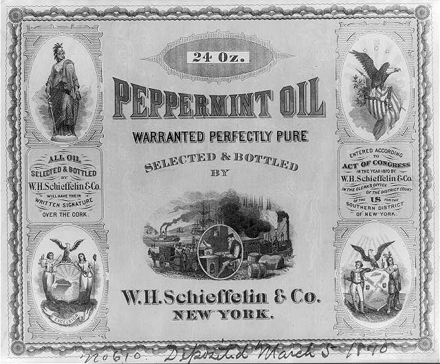 A peppermint oil label from 1870