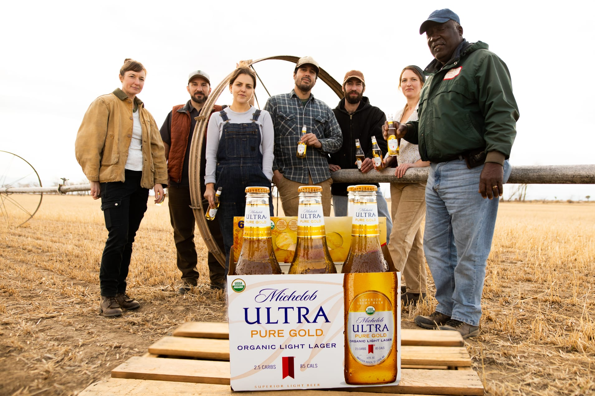A promotional image highlights the potential impact of Michelob ULTRA Pure Gold in farm country