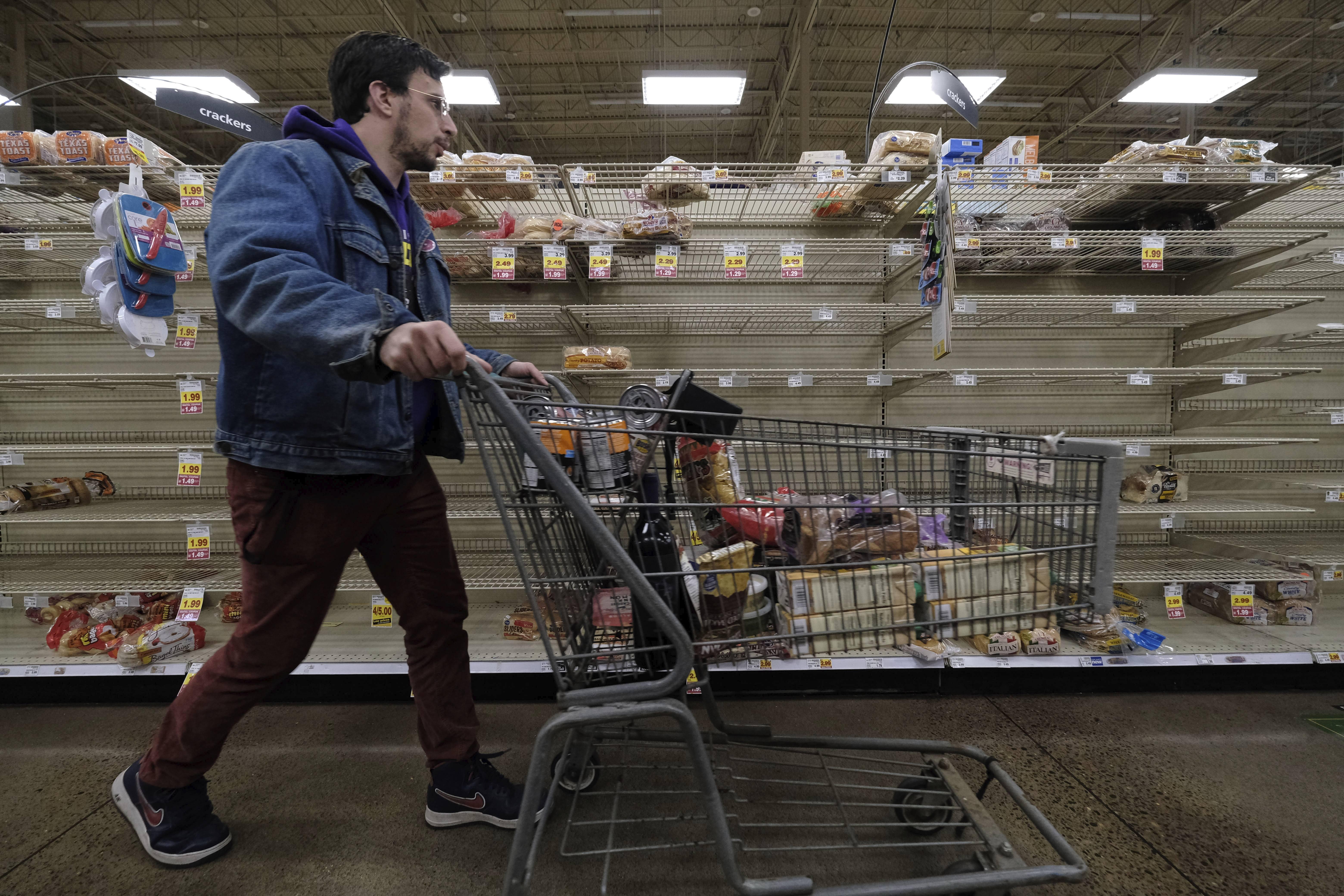 empty shelves in a portland supermarket