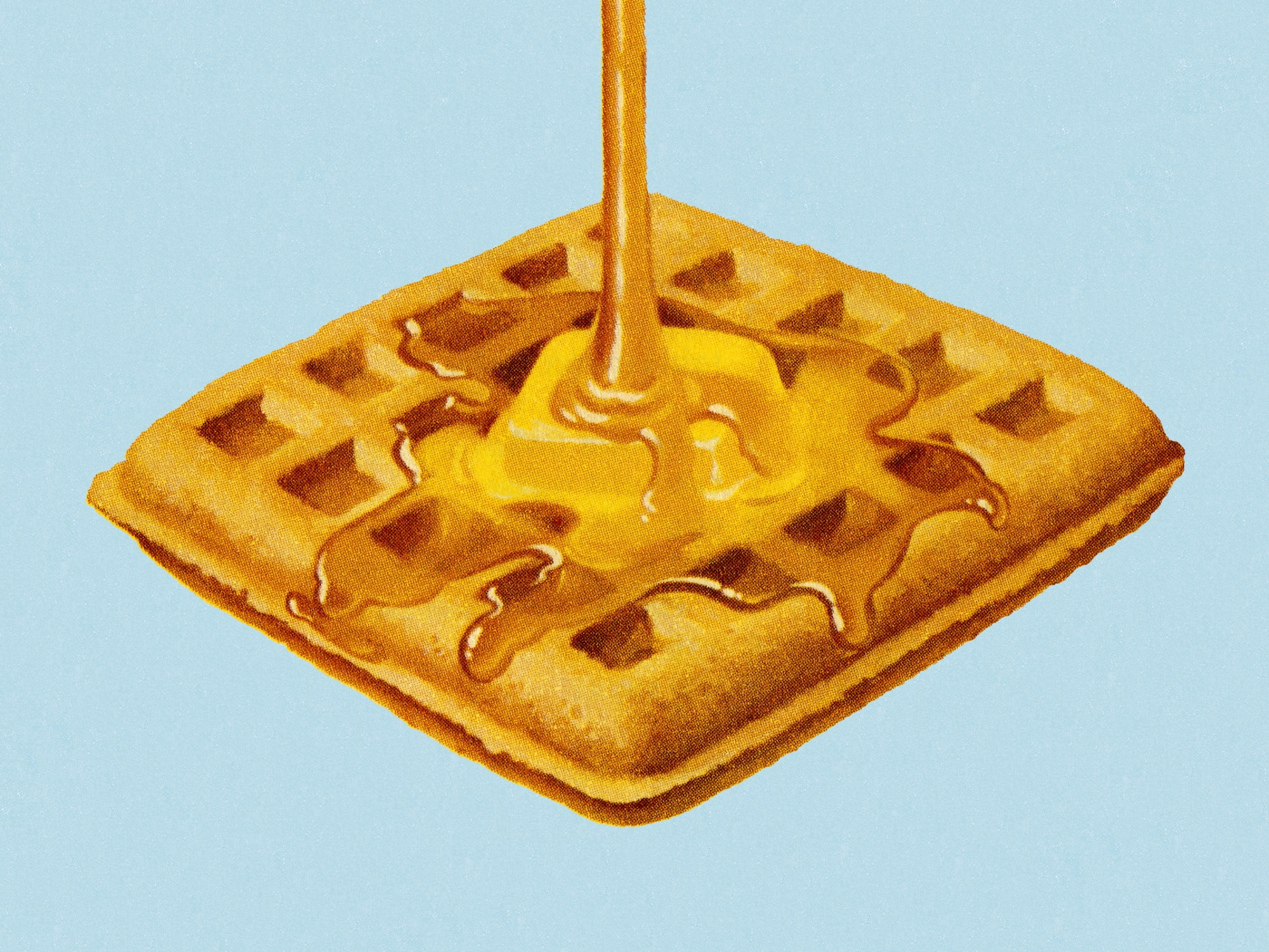 syrup being poured on a waffle with butter August 2020