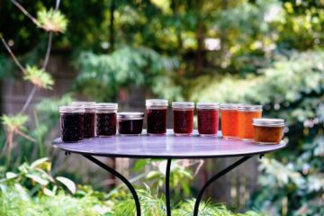 Jars of homemade jam. September 2020
