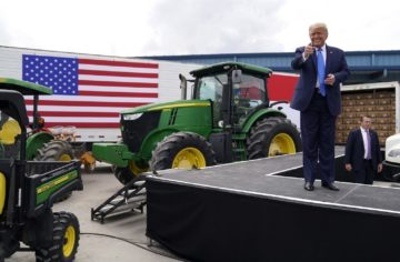 Trump prepares to give a speech to farmers in Mills River, N.C., in August. 2020