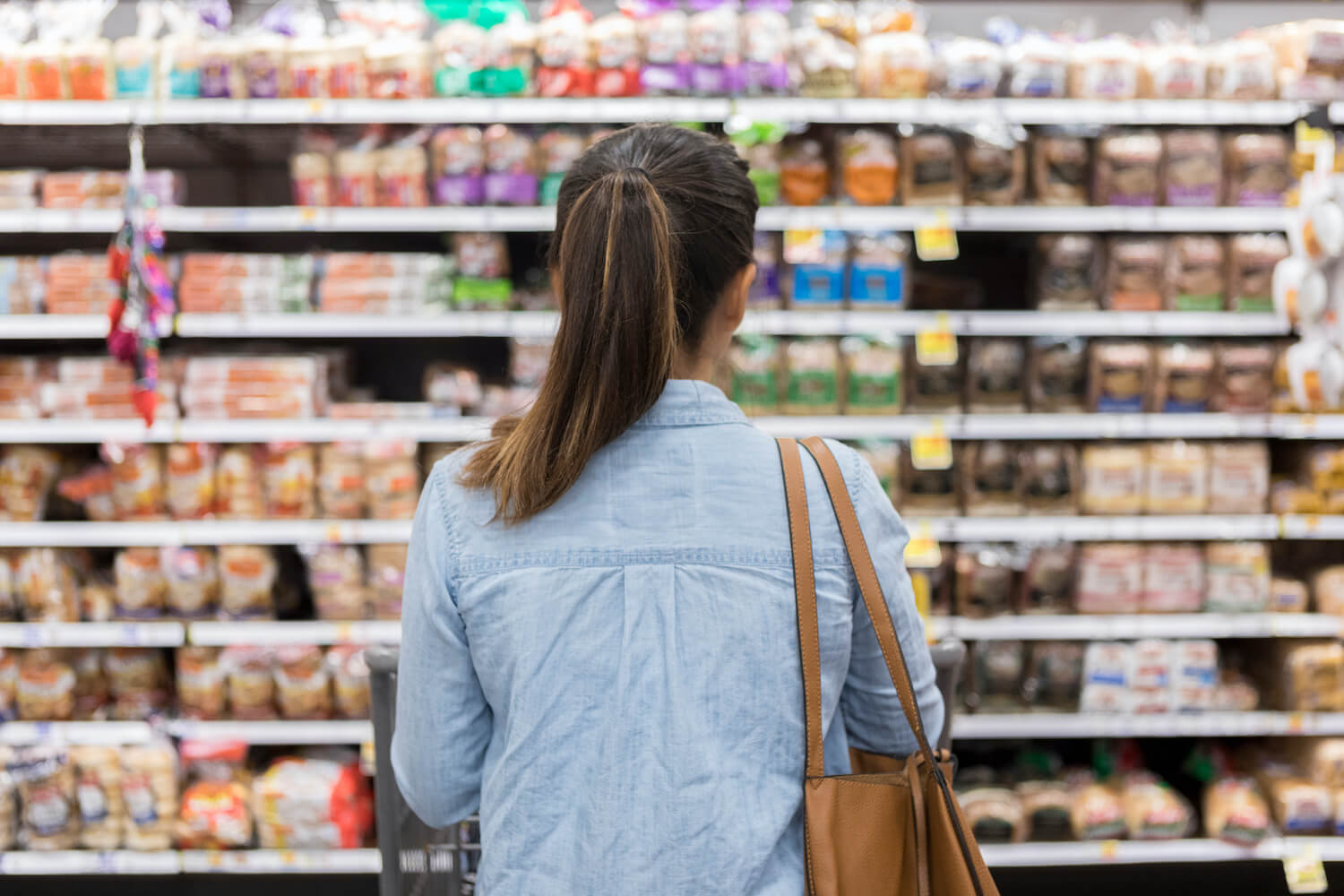 Back of a woman shopping in a grocery store looking at an aisle of bread. October 2020