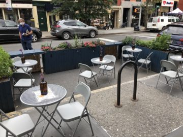 Outdoor dining in New York City without an ADA ramp. October 2020