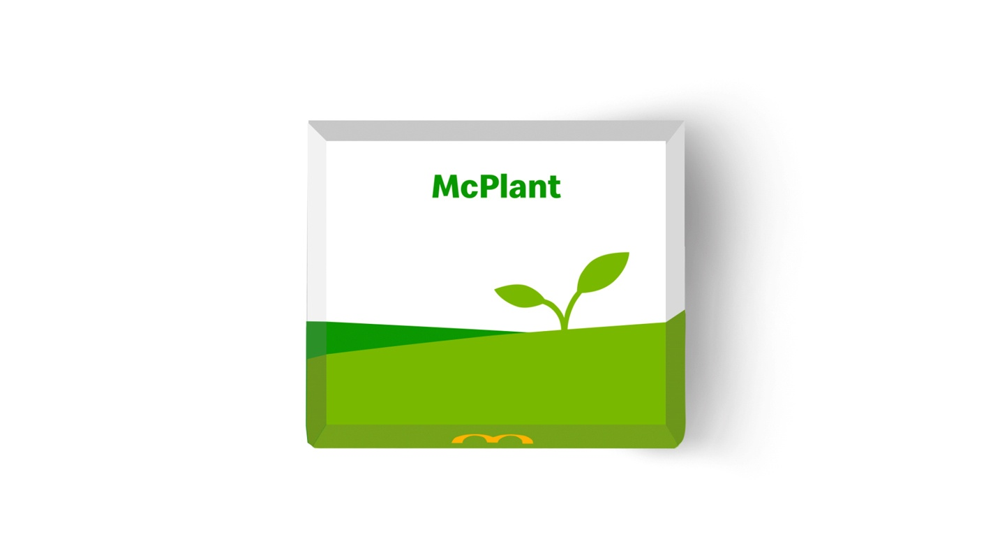 McPlant box Image white with a green label and design from McDonald's. November 2020