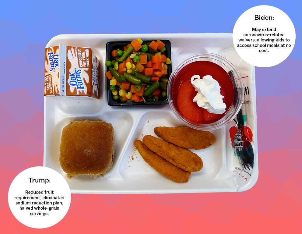 School lunch tray with chocolate milk, chicken nuggets, succotash, and fruit. Trump versus Biden policies on a gradient blue and red background. November 2020