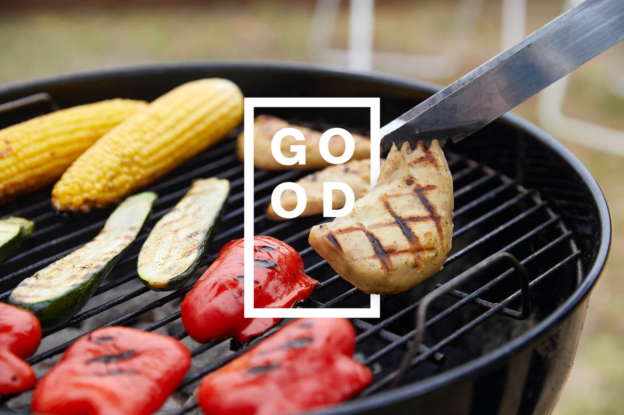 Grilling cell-cultured chicken with other vegetables and the GOOD meat logo. December 2020