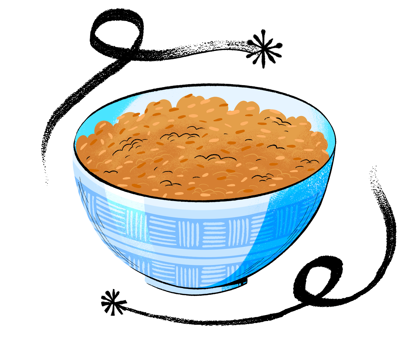 An illustrated bowl of West African jollof rice. December 2020