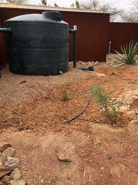 Rainwater barrel in a home in Navajo Nation. December 2020