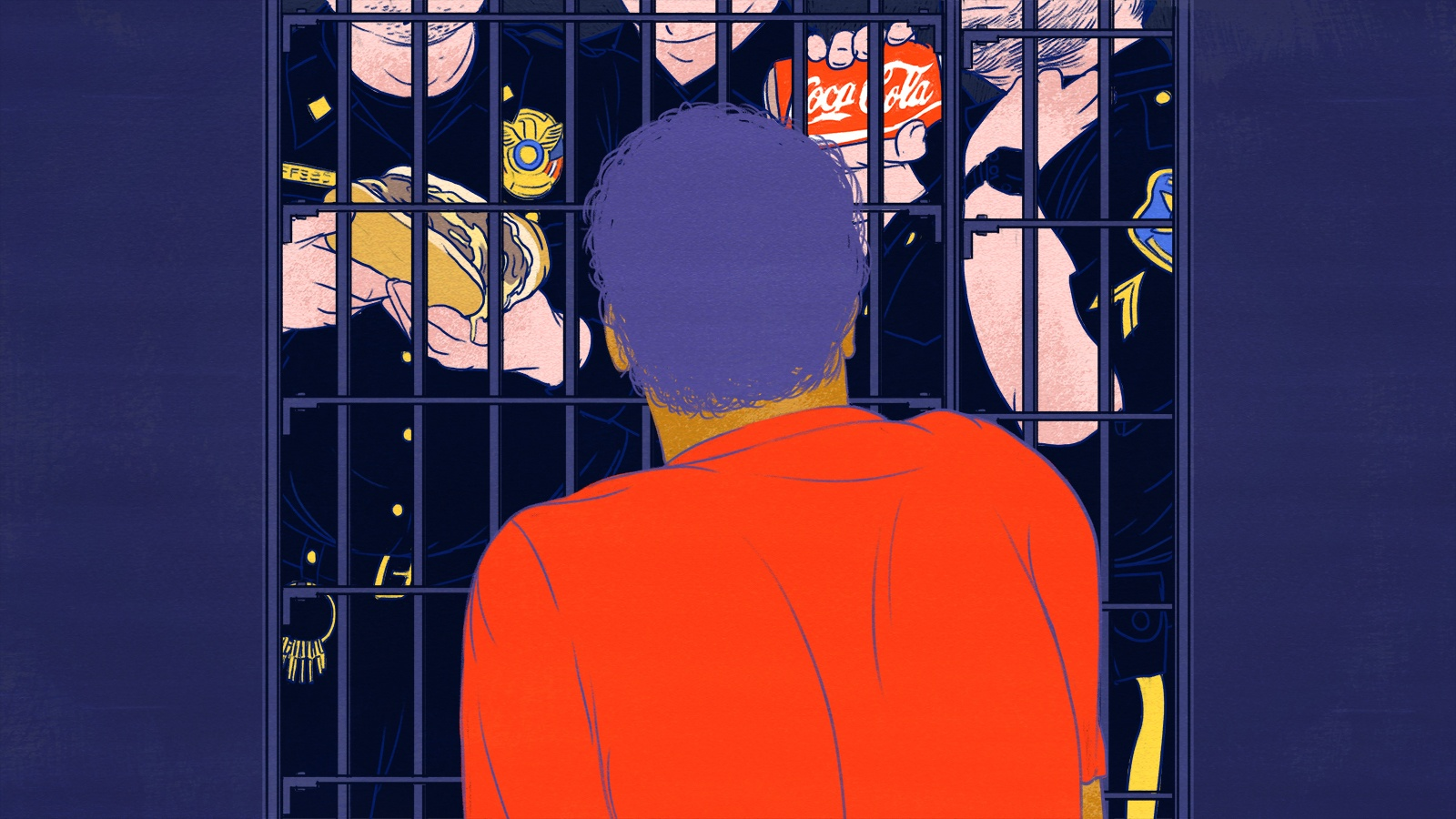 Hunger strike illustration: detainee behind bars mocked by guards holding a Philly cheese steak and Coca-Cola. February 2021