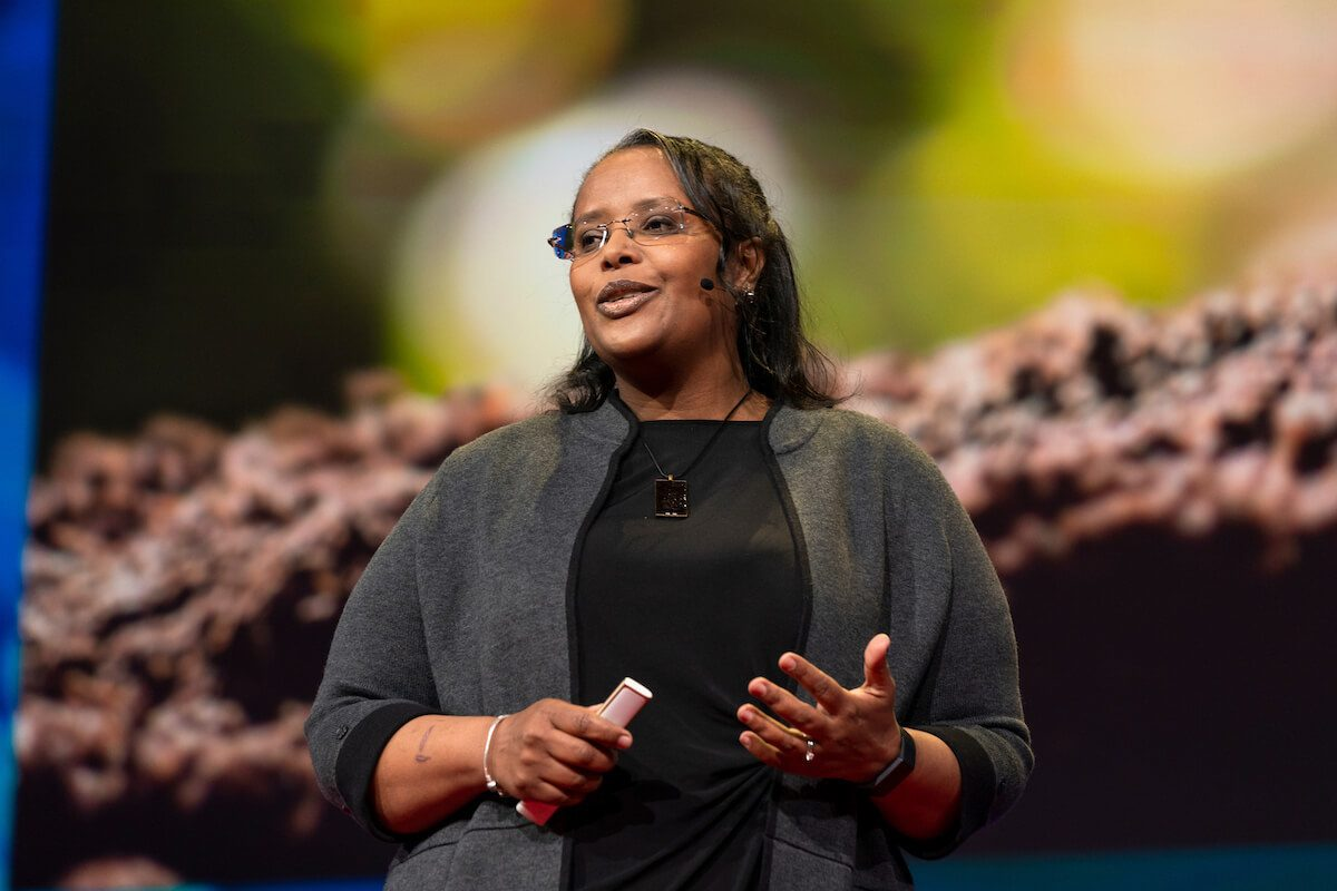 Biochemist Asmeret Asefaw Berhe speaks at TED2019: Bigger Than Us. April 15 - 19, 2019, Vancouver, BC, Canada.