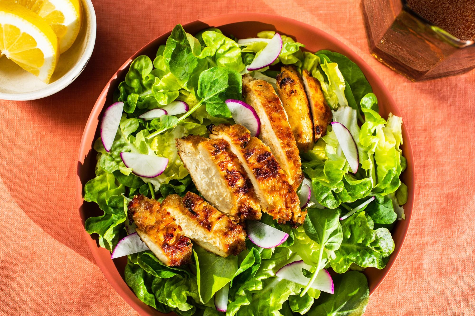aerial shot of upside foods chicken salad. May 2021
