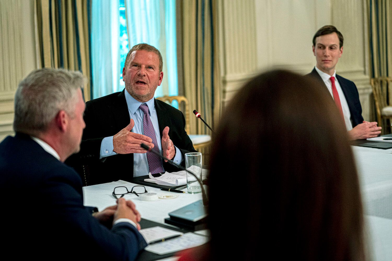 Tilman Fertitta, CEO of Landry's Hospitality, makes remarks during a roundtable with Restaurant Executives and Industry Leaders at the White House on May 18, 2020. Landry has given more than half a million dollars to Texas Governor Greg Abbott. May 2021