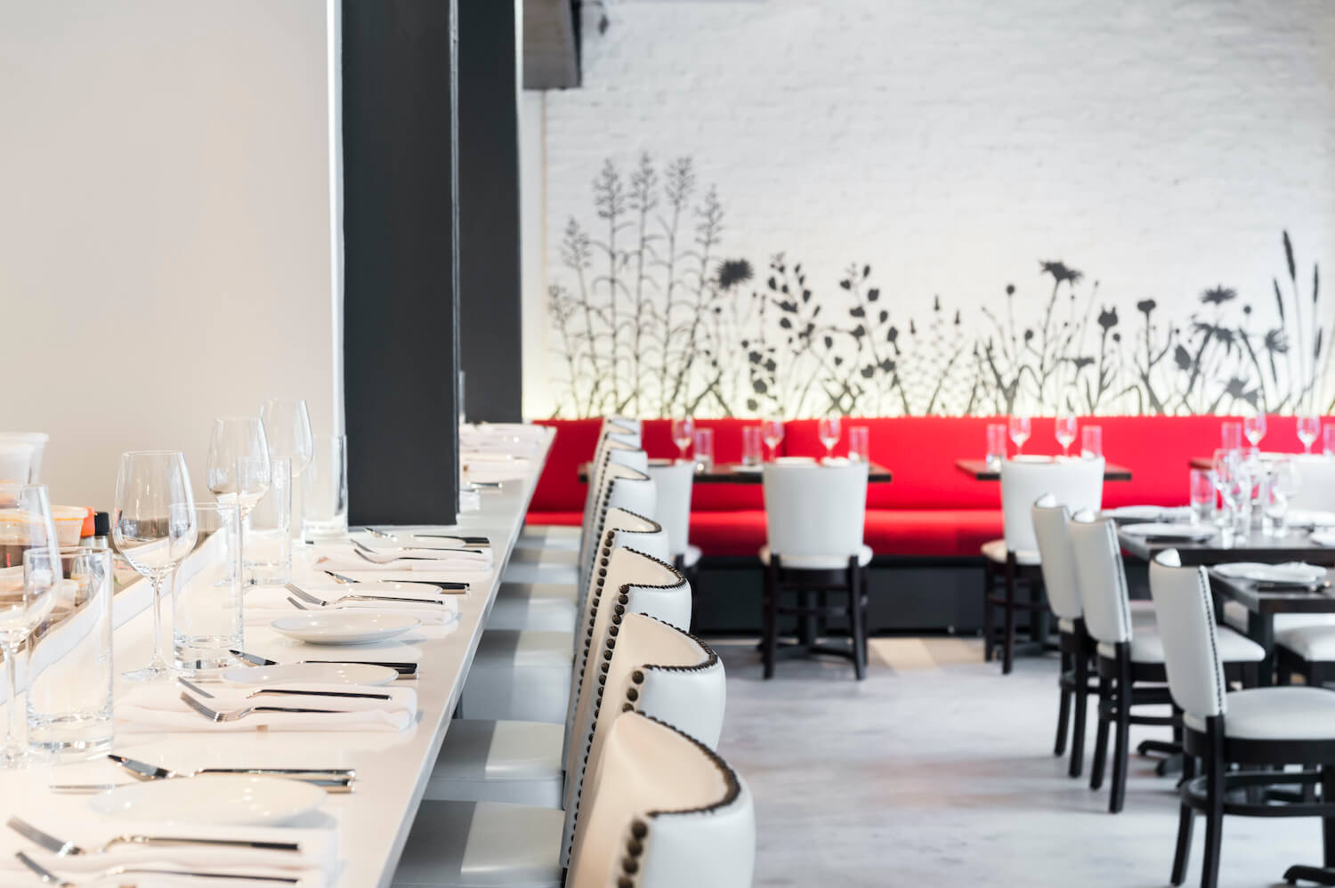 The dining room of Dirt Candy, Amanda Cohen's vegetable-focused restaurant in New York City.