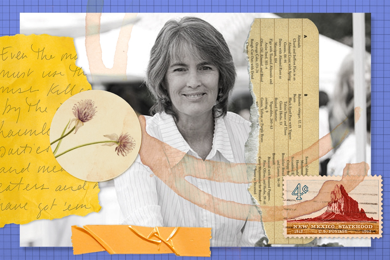 Deborah Madison collage for Rewrites with tape, floral patch, paper, and coffee cup stain. June 2021