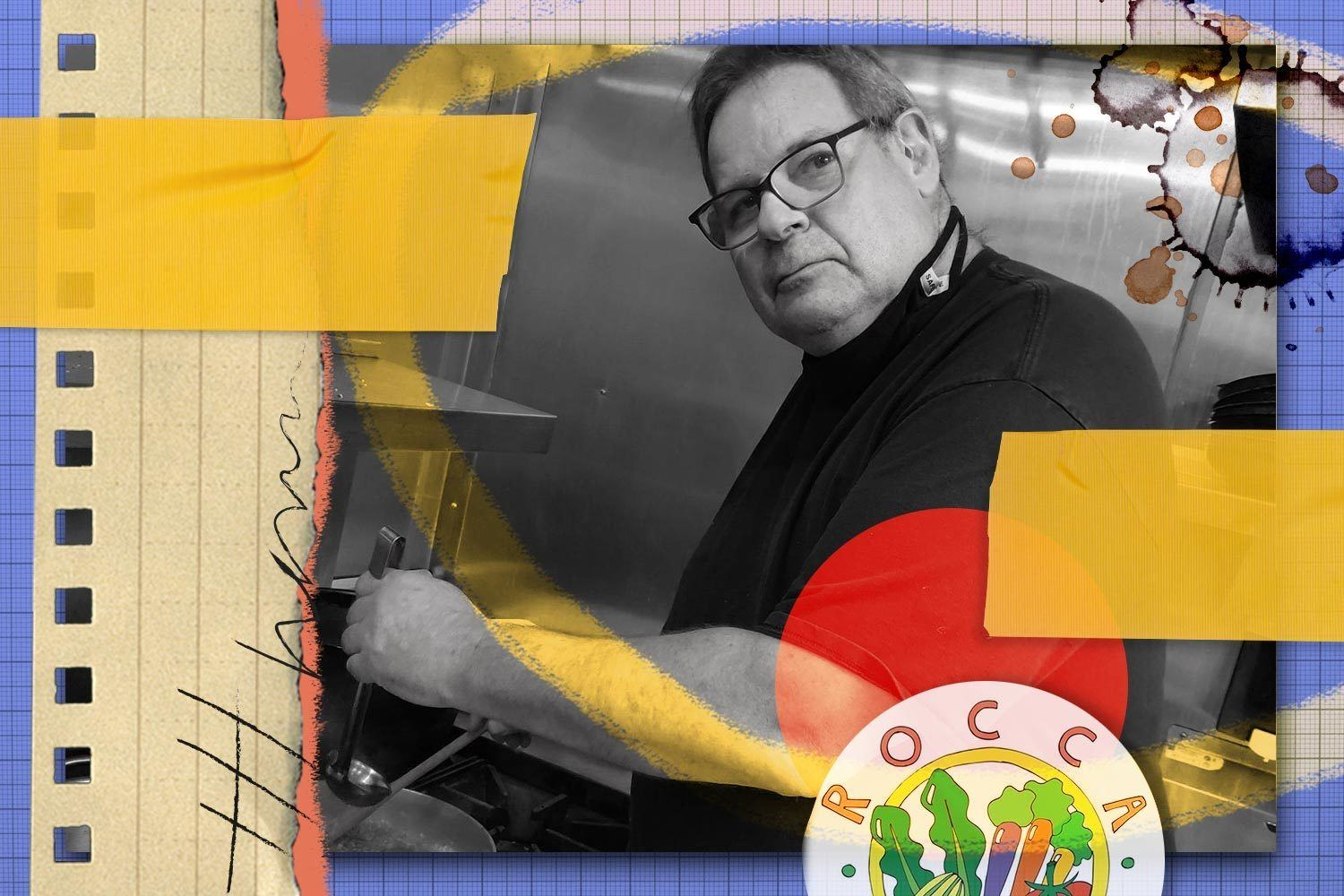 A collage with a portrait of executive chef Don Dickman. June 2021