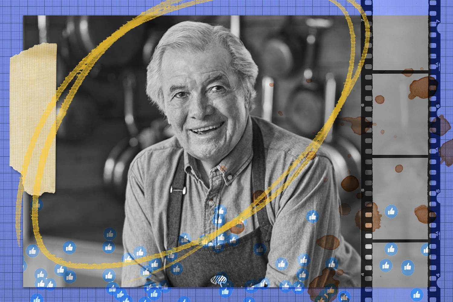 Jacques Pépin feature image collage for Rewrites. Black and white photo with tape, pastel mark, Facebook likes, film, and food stains on blue graph background. June 2021