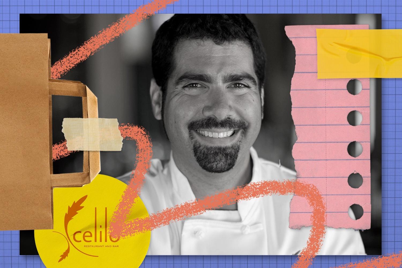 A portrait collage of Ben Stenn, co-owner of restaurant Celilo. July 2021