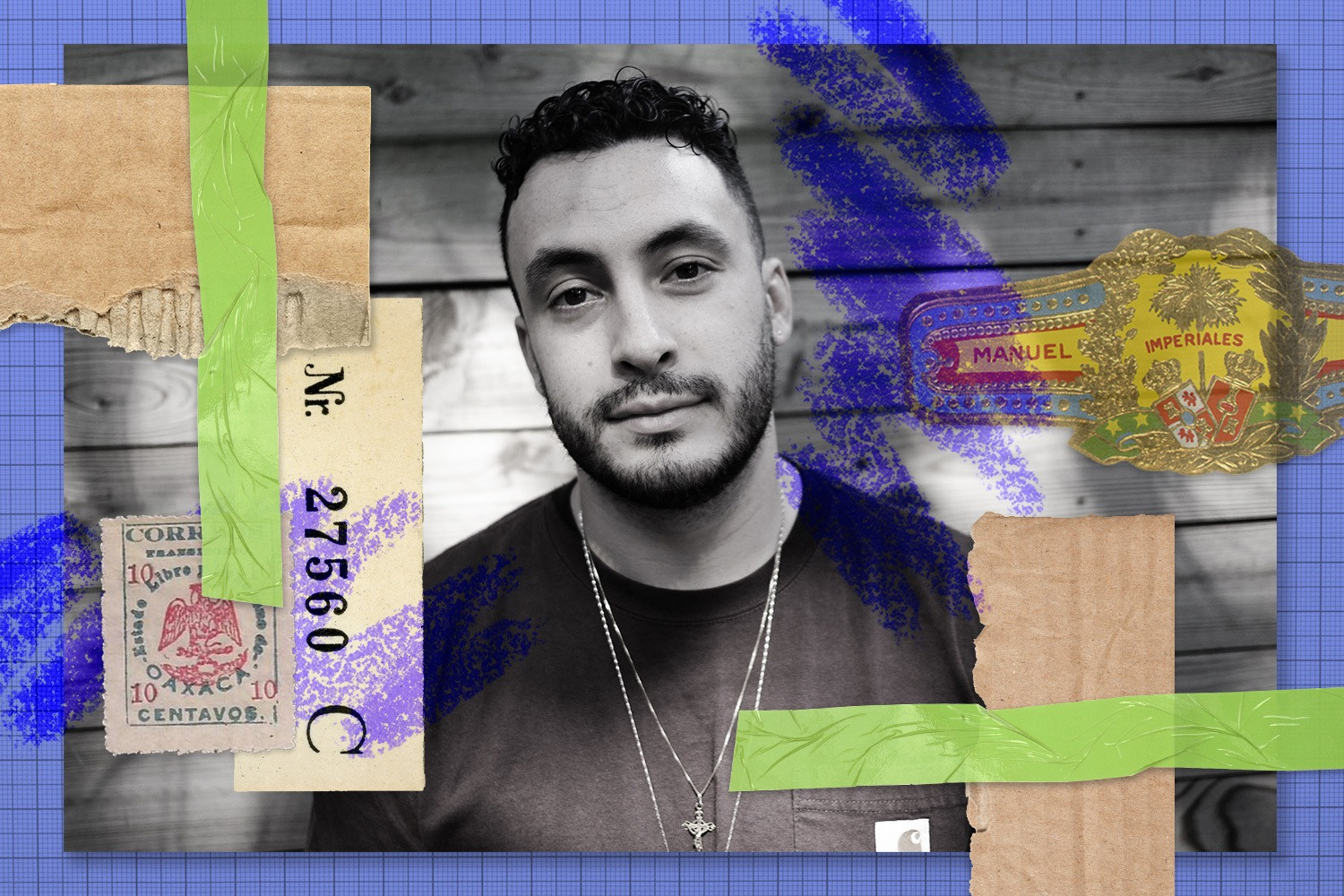 Rewrites collage of José Cardenas, black and white portrait with cardboard scraps, green tape, purple scribbles, ticket and stamps, and Manuel Lopez Imperiales wrapper of cigar. August 2021