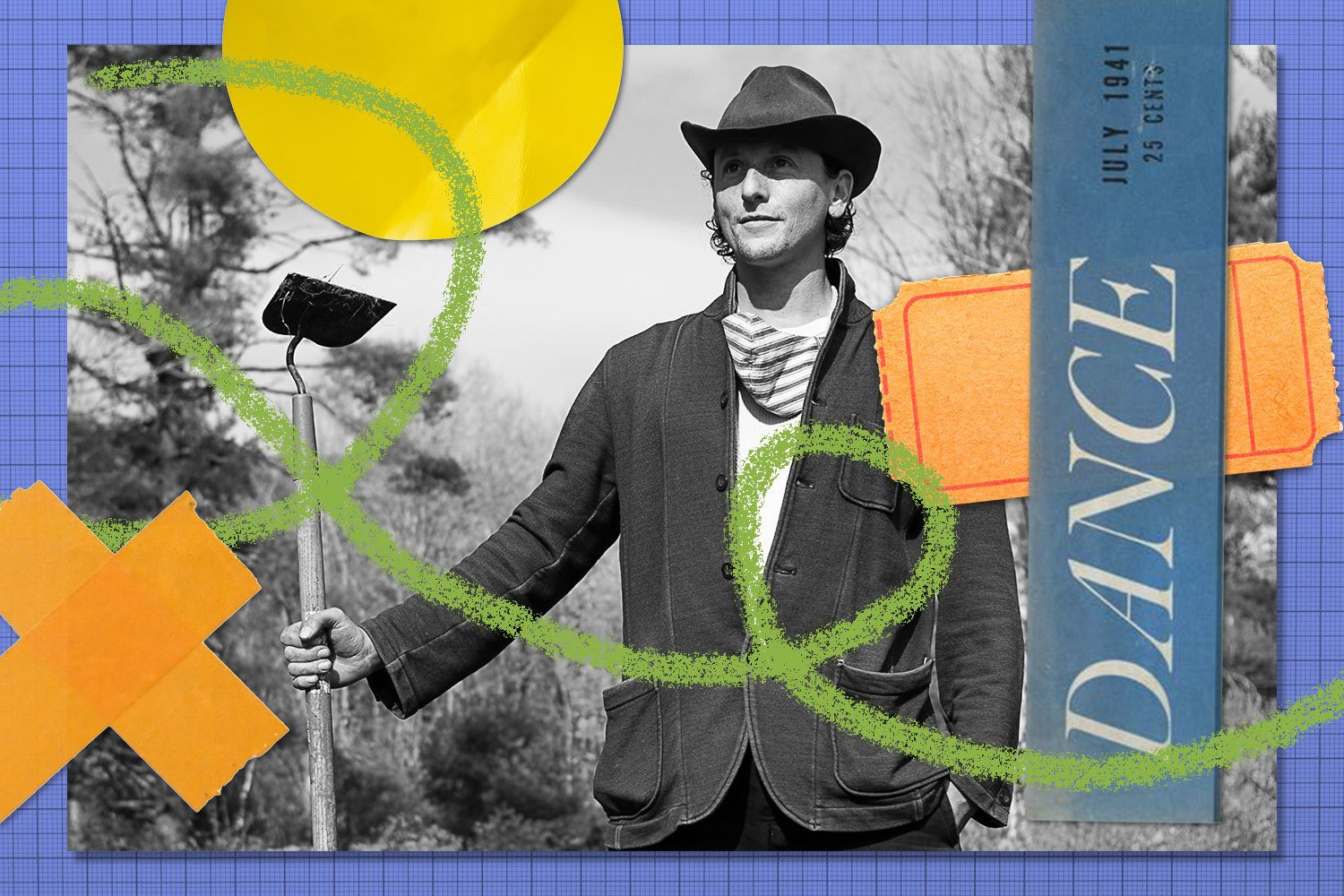 Final Rewrites collage for Adam Weinert with tickets, and old dance show cutout, green doodle, orange tape and yellow label. July 2021