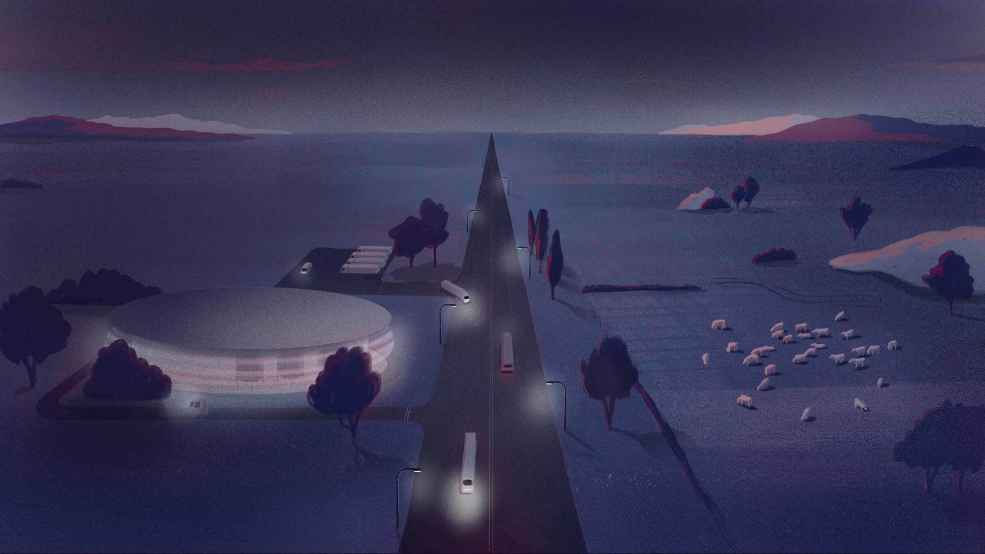 A view looking down on a road dividing a round cultured meat facility on the left and cows graze. Dark blues and red fill the sky. September 2021