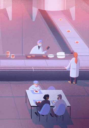 A close up illustration of workers inside a cell cultured meat facility. Some in the background on a conveyer belt others are eating in the cafeteria. September 2021