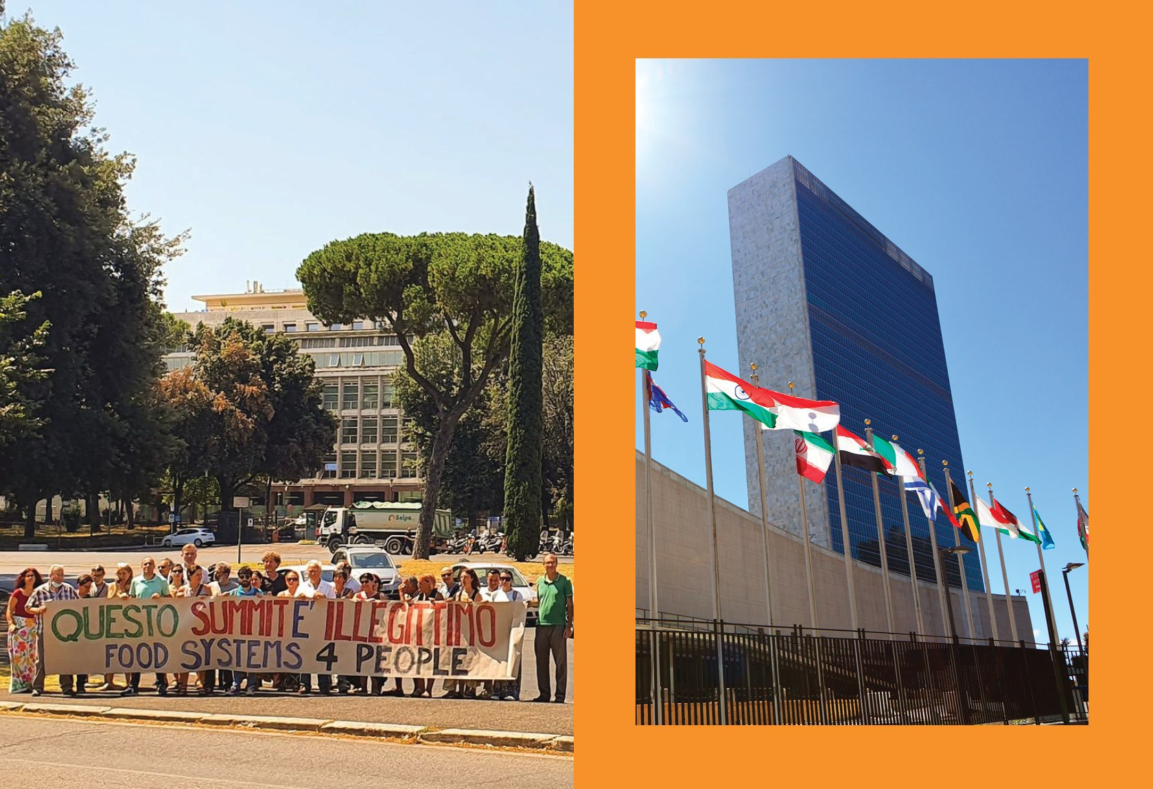 A photo of protesters on the left in Rome and a photo of the United Nations building in New York on the right with an orange border. September 2021