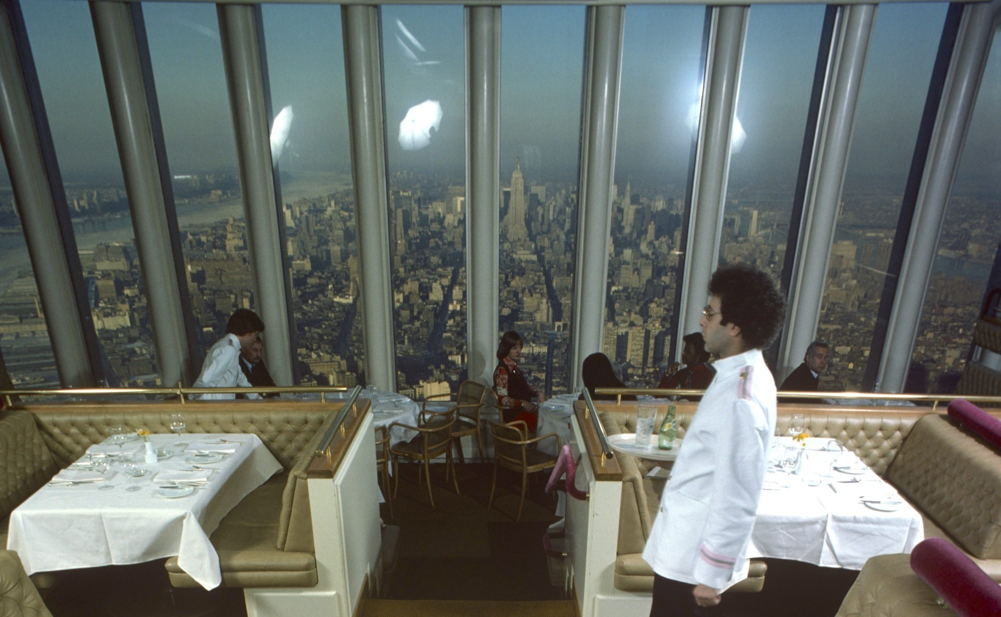 A view of the kitchen prep of the restaurant Windows on the World (on the 107th floor of the World Trade Center), New York, New York, January 1977. September 2021